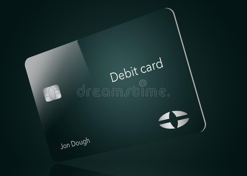 Här är ett modernt och stilfullt bankdebiteringkort Det är en illustration och är falskt och generiskt att undvika några problem  royaltyfri illustrationer