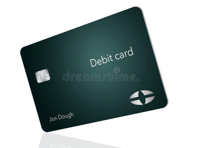 Här är ett modernt och stilfullt bankdebiteringkort Det är en illustration och är falskt och generiskt att undvika några problem  stock illustrationer