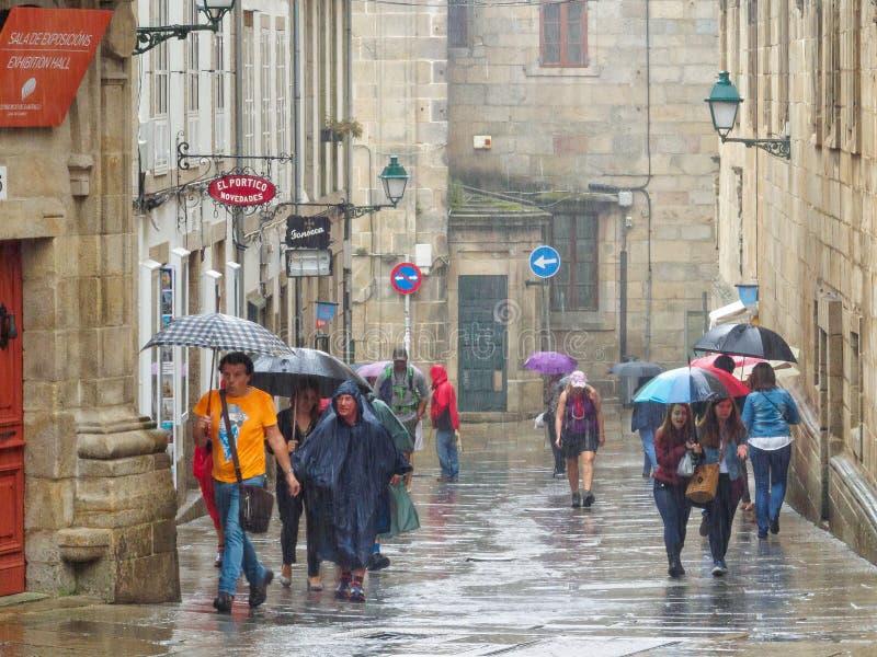 Här kommer regnet - Santiago de Compostela arkivfoto