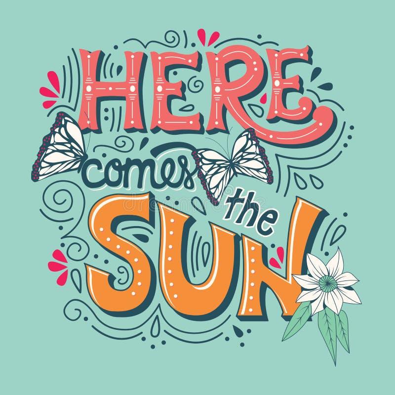 Här kommer soltypografibanret med fjärilar, blommor och virvlar royaltyfri illustrationer