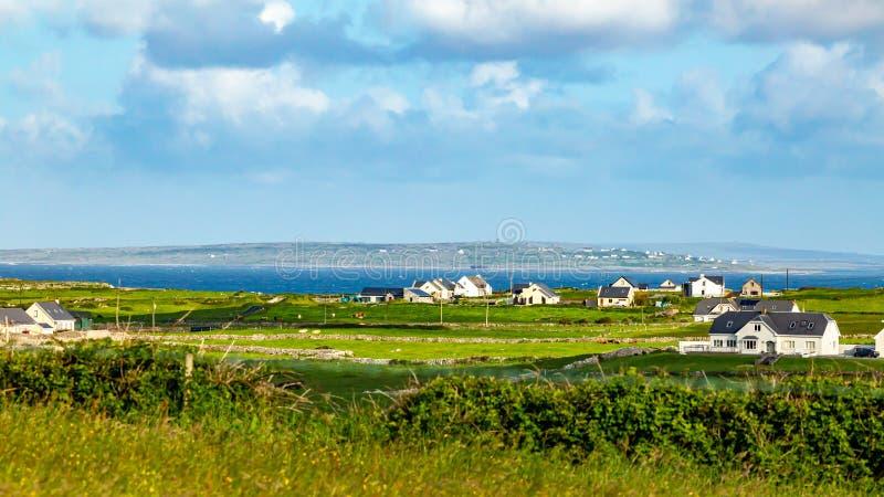Härlig äng, lantgårdar och havet i bakgrunden royaltyfri fotografi
