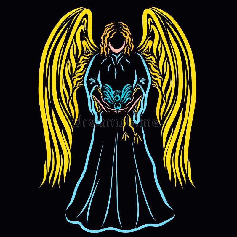 Härlig ängel på en svart bakgrund med en fågel i deras händer vektor illustrationer