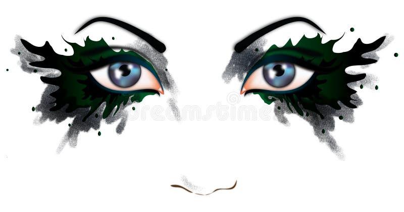 härlig ögonkvinna vektor illustrationer