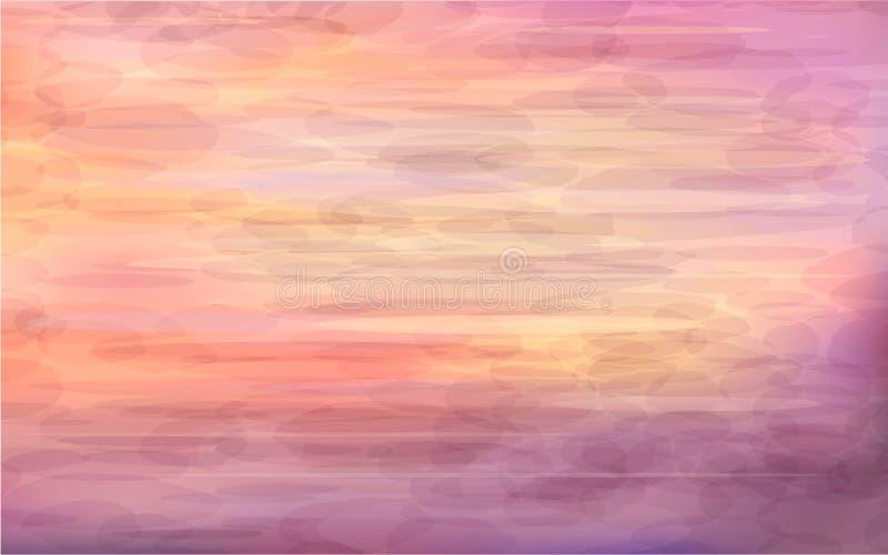 Härlig abstrakt bakgrund - soluppgång på havet stock illustrationer