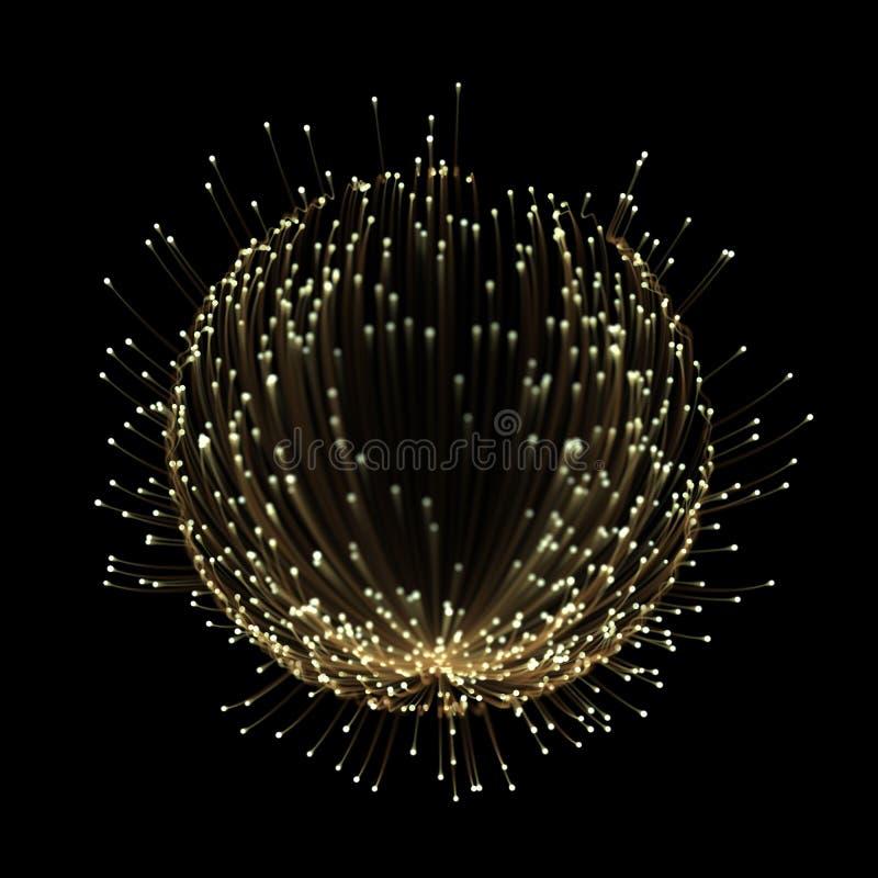 Härlig abstrakt effekt för spåring för ljusa strålar med den guld- neonlinjen royaltyfri illustrationer
