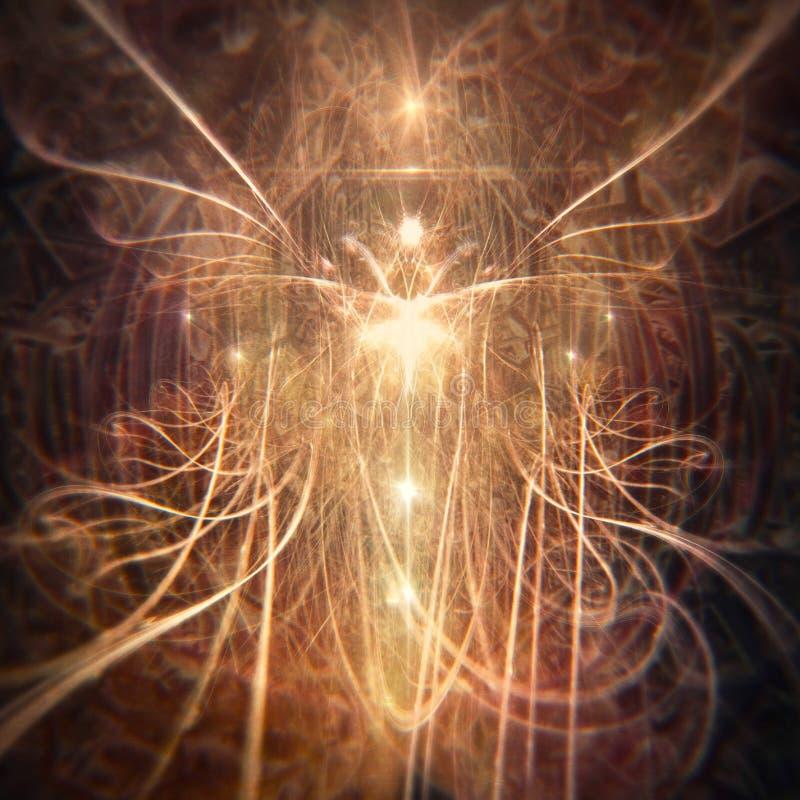 Härlig abstrakt fe Angel Being Emanating Golden och orange ljus royaltyfri foto