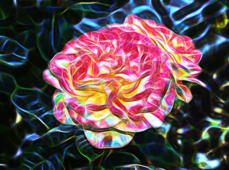 Härlig abstrakt fractal och stor blomma royaltyfri illustrationer