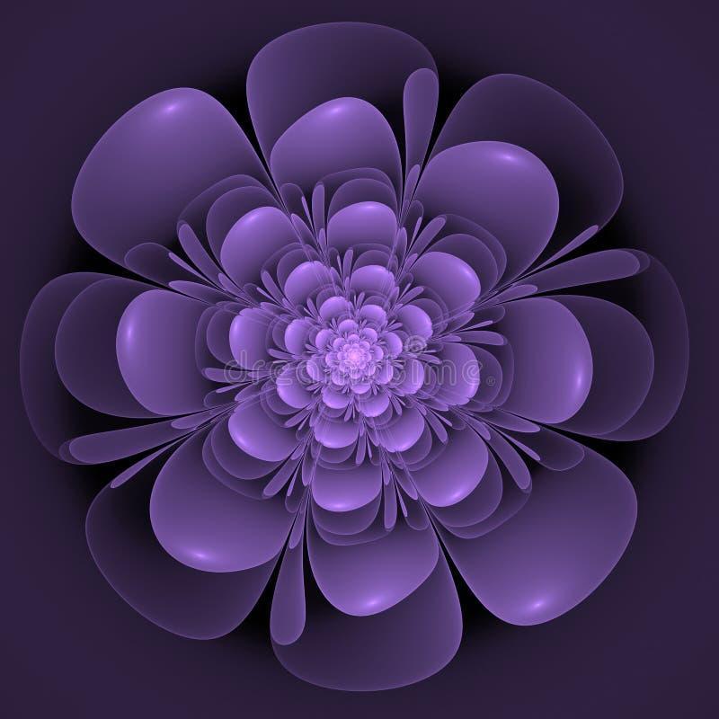 Härlig abstrakt fractalblomma, blått och violet stock illustrationer