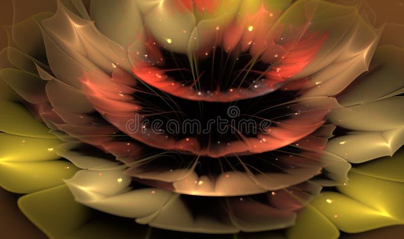Härlig abstrakt fractalblomma med skinande detaljer på kronblad stock illustrationer