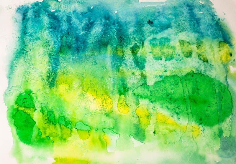 Härlig abstrakt grön vattenfärgbakgrund royaltyfri illustrationer