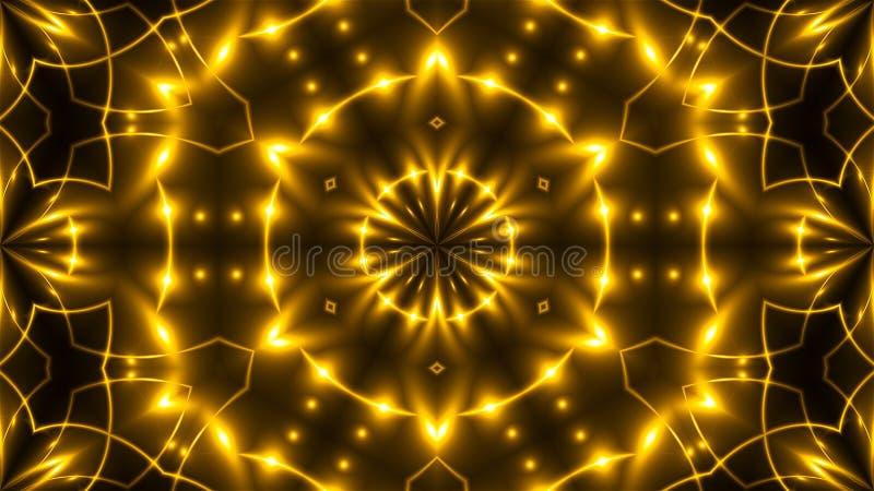 Härlig abstrakt kalejdoskop - framför guld- ljus för fractalen, 3d bakgrunden, datoren som frambringar bakgrund royaltyfri foto