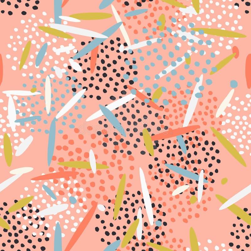 Härlig abstrakt modell med prickar och linjer royaltyfri illustrationer