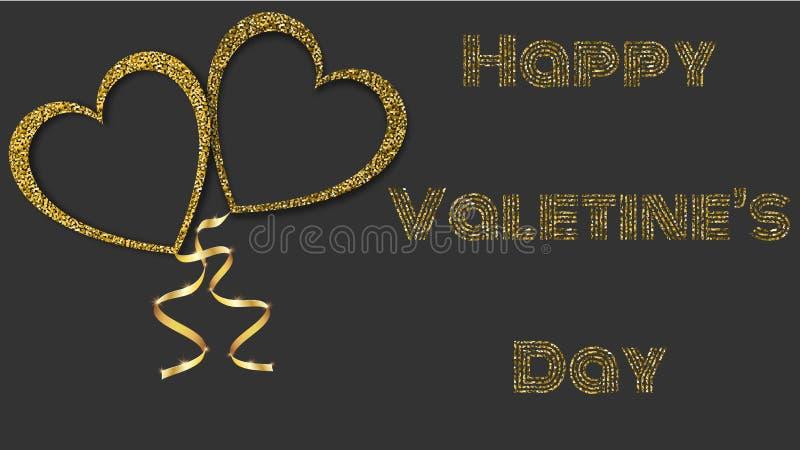 Härlig abstrakt textur av guld- blänka förälskelsehjärtaballonger och guld- band för lyckliga helgonvalentin dag på svart vektor illustrationer