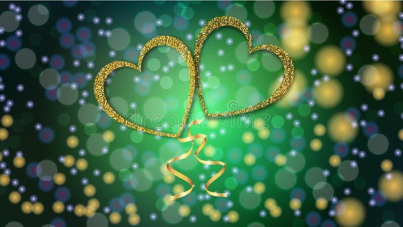 Härlig abstrakt textur av guld- förälskelseballonger i formen av hjärtor och ett guld- band för lyckliga valentin dag royaltyfri illustrationer