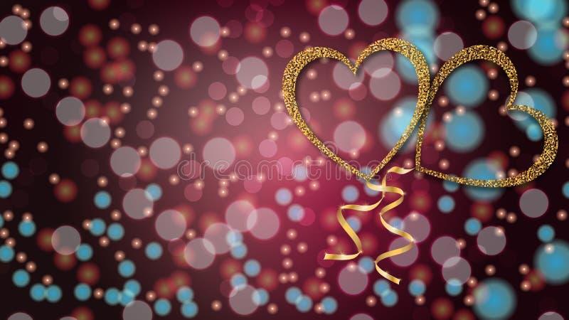 Härlig abstrakt textur av guld- förälskelseballonger i formen av hjärtor och ett guld- band för lyckliga valentin dag ett suddigt royaltyfri illustrationer