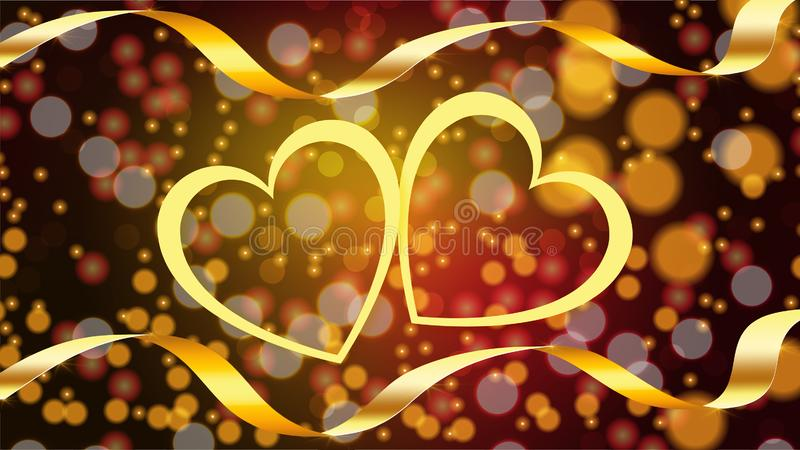 Härlig abstrakt textur av skinande gula förälskelsehjärtor med guld- band på lyckliga valentin dag i bakgrundsbokeheffekten stock illustrationer