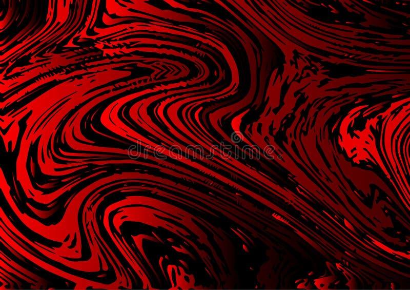 Härlig abstrakt vektorbakgrund för röd och svart vätskestil stock illustrationer