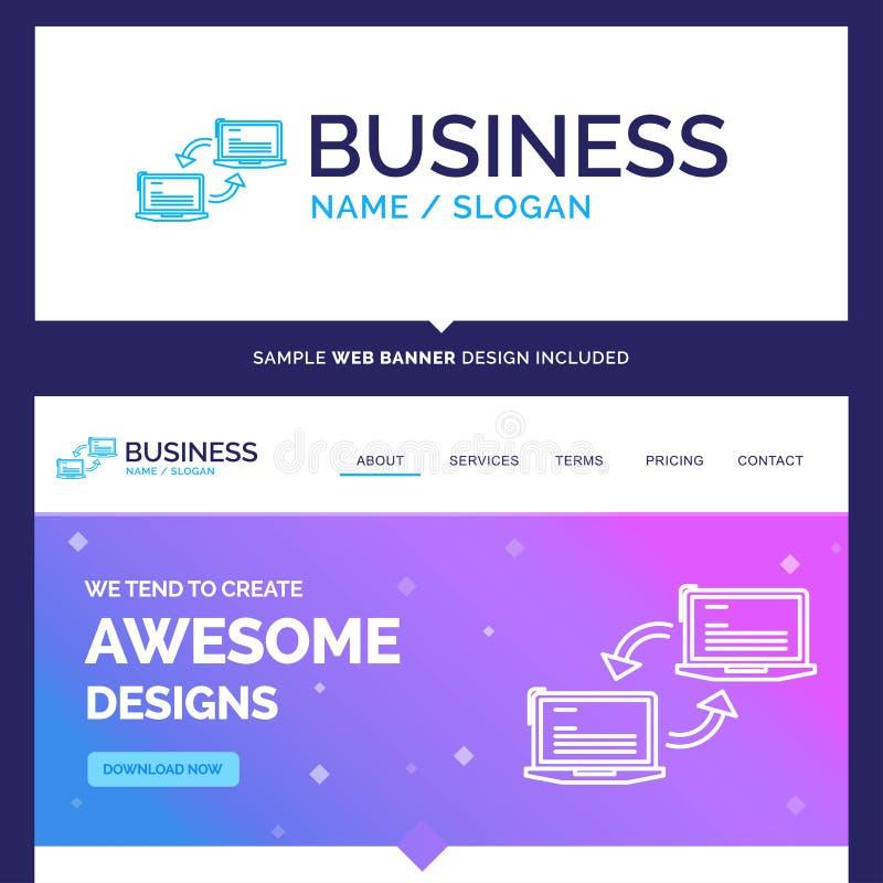 Härlig affärsidémärkesnamndator, anslutning, sammanlänkning stock illustrationer