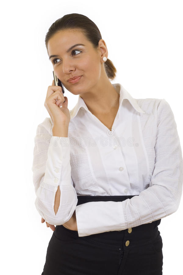 härlig affärskvinna henne telefon arkivbild