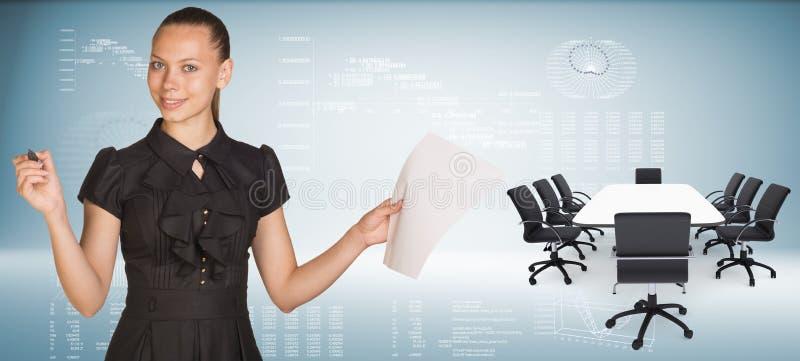 Härlig affärskvinna som rymmer arket för tomt papper vektor illustrationer