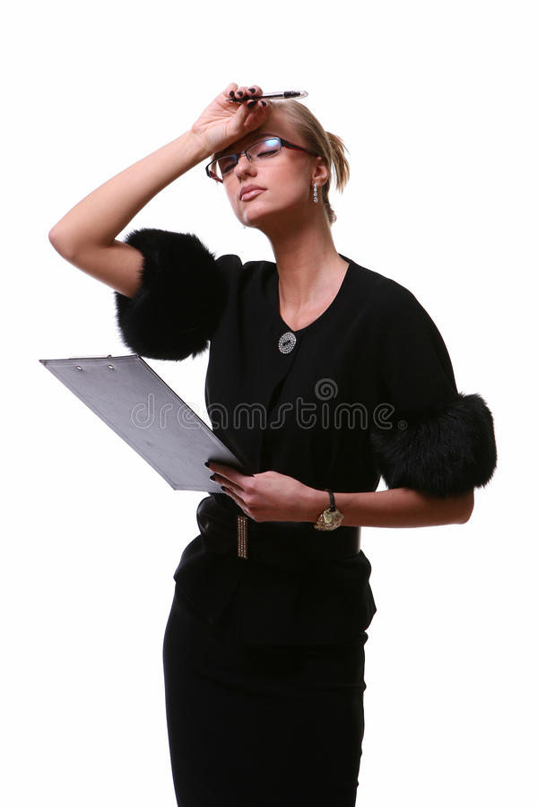 härlig affärswhitekvinna royaltyfri fotografi