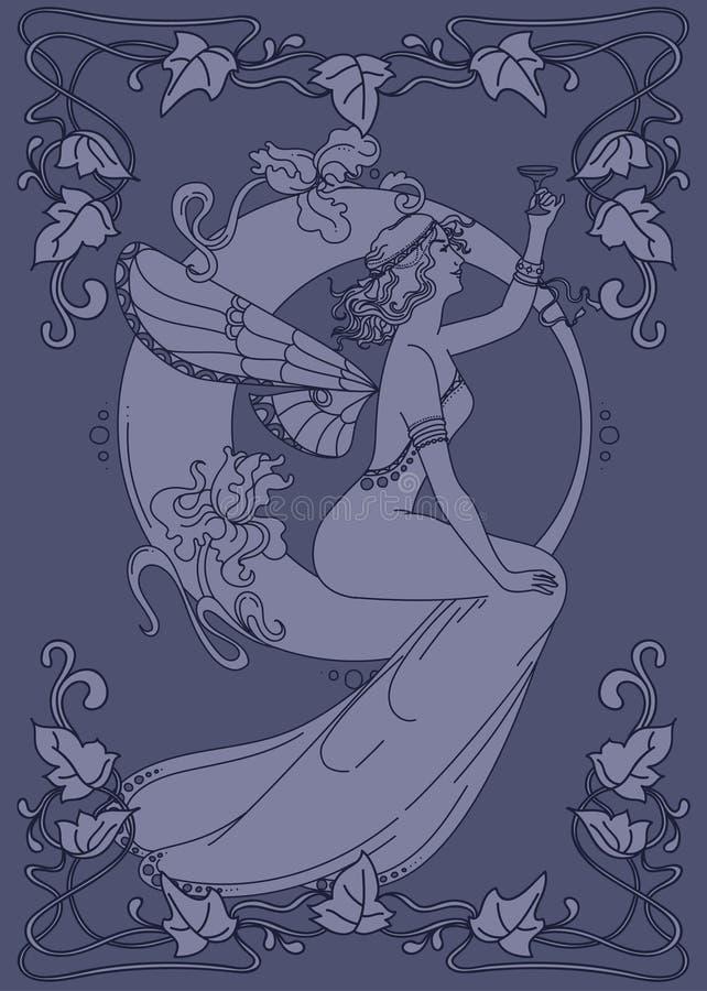 Härlig affisch i jugendstilstil med den felika kvinnan och måne och blom- ram royaltyfri illustrationer