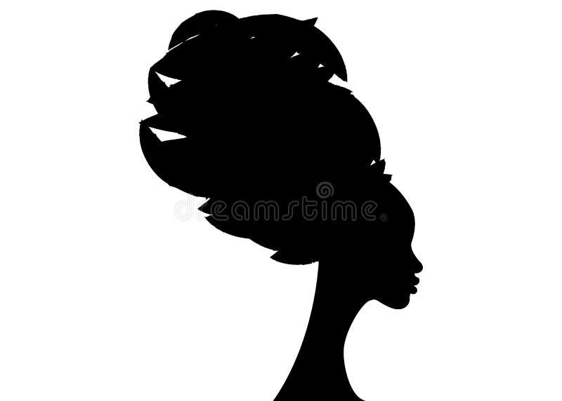 Härlig afrikansk kvinna för stående i den traditionella turbanen, isolerad svart kvinnakontur royaltyfri illustrationer