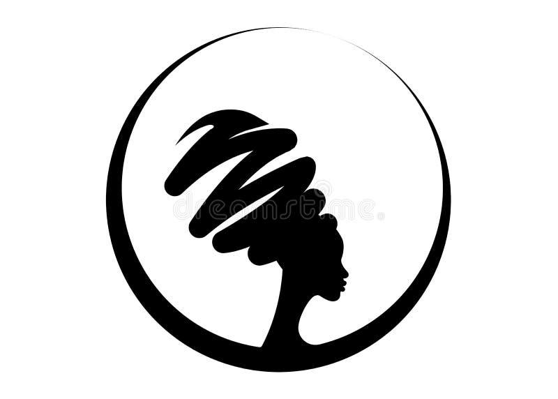 Härlig afrikansk kvinna för stående i den traditionella turbanen, isolerad svart kvinnakontur, frisyrbegrepp royaltyfri illustrationer