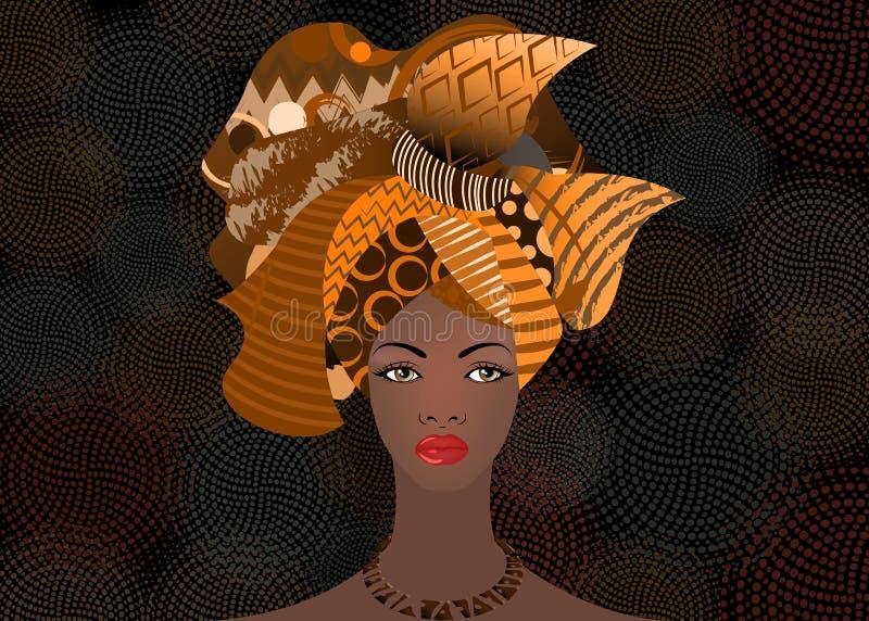 Härlig afrikansk kvinna för stående i traditionell turban, afrikan för Kente huvudsjal, traditionell dashikiprinting, svart kvinn stock illustrationer