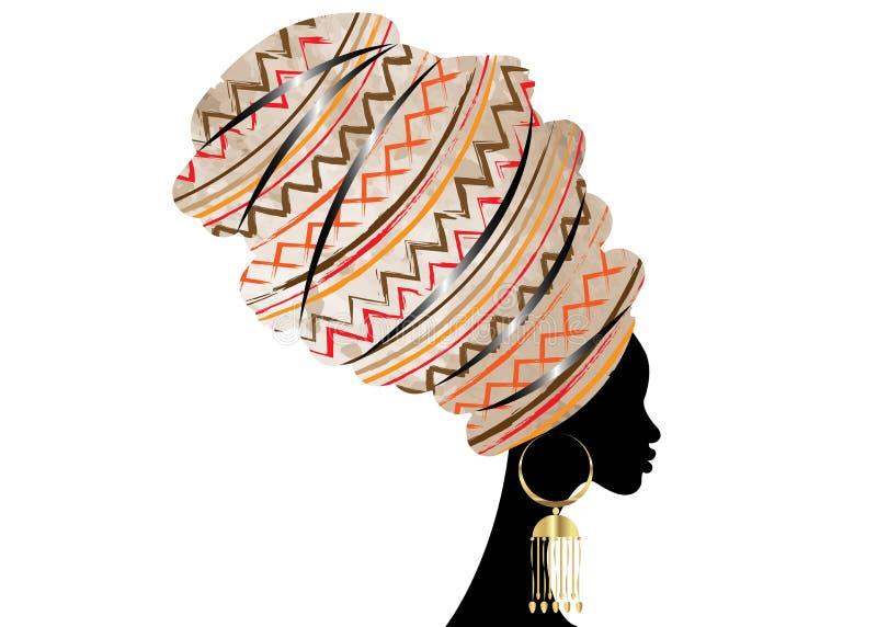 Härlig afrikansk kvinna för stående i traditionell turban, afrikan för Kente huvudsjal, traditionell dashikiprinting, svarta afro vektor illustrationer