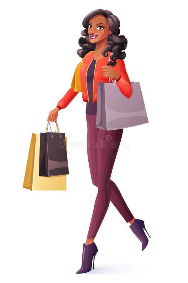 Härlig afrikansk kvinna för vektor som går med påsar och att le för shopping vektor illustrationer