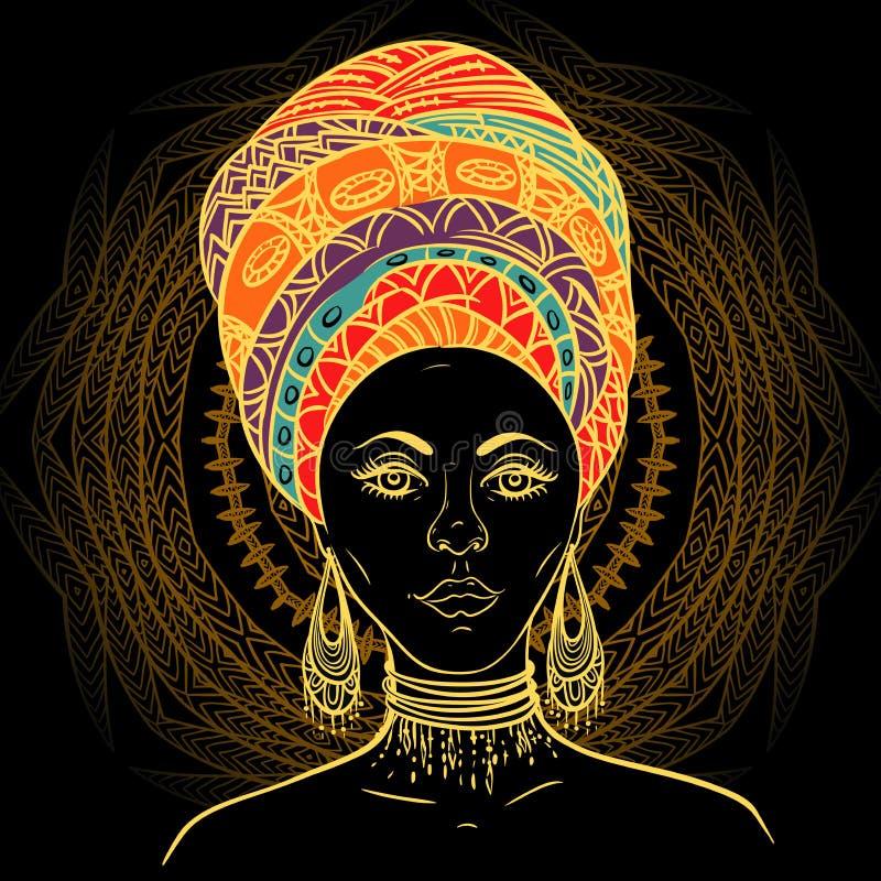 Härlig afrikansk kvinna i turban över utsmyckad mandalarundamodell stock illustrationer