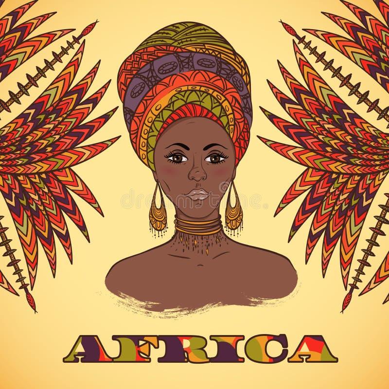 Härlig afrikansk kvinna i turban- och abstrakt begrepppalmblad med den etniska geometriska prydnaden stock illustrationer