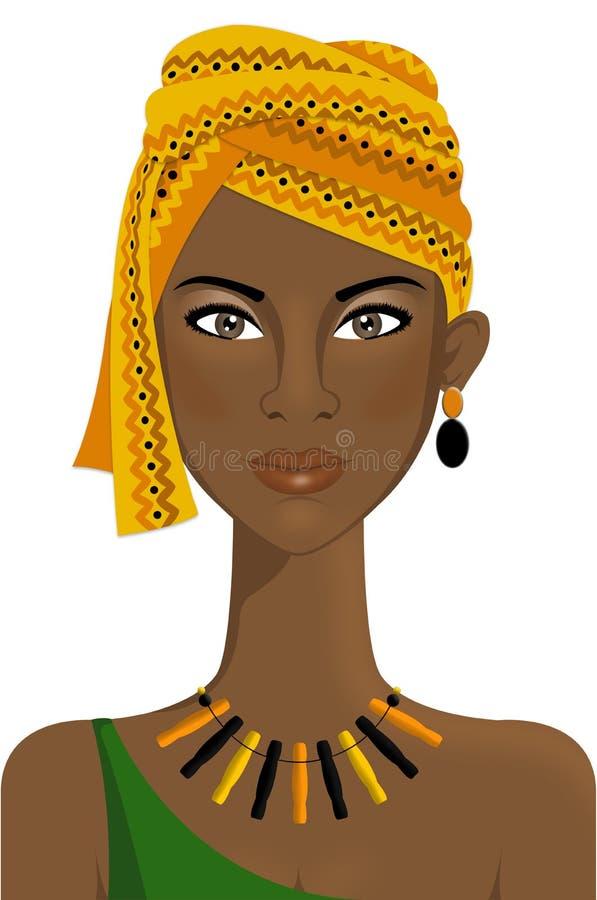 Härlig afrikansk kvinna med turbanen royaltyfri illustrationer