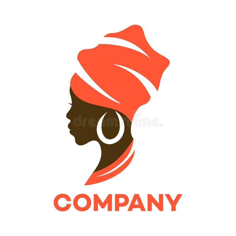 Härlig afrikansk kvinnalogo också vektor för coreldrawillustration royaltyfri illustrationer