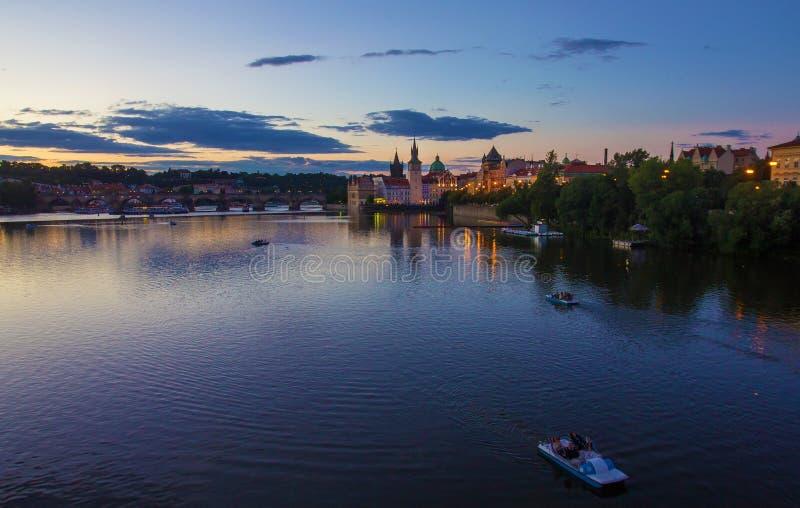 Härlig afton på Prague, tjeck arkivbild