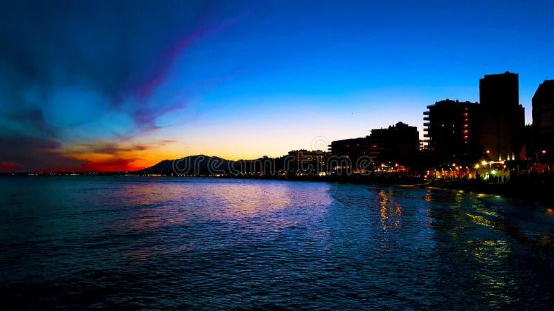 Härlig afton vid stranden fotografering för bildbyråer