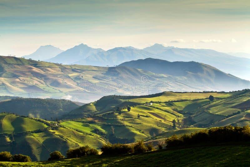 Härlig andean landskapsikt från Nono, Ecuador arkivbild