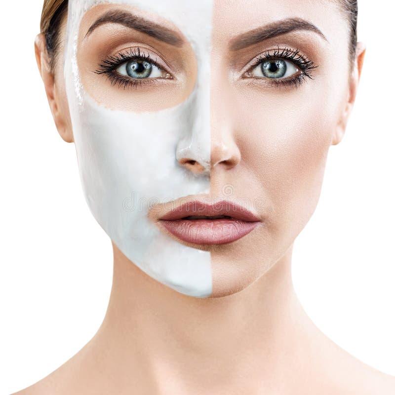 härlig ansikts- maskeringskvinna arkivfoton