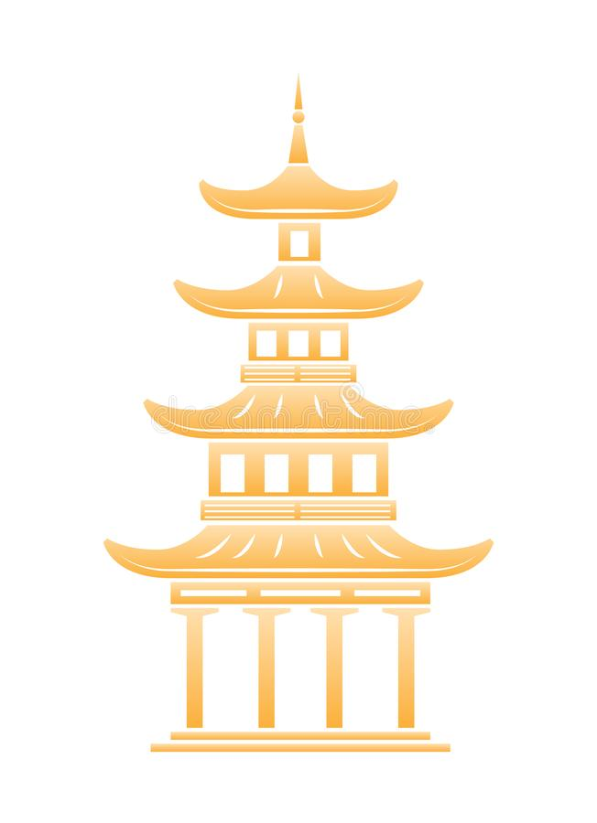 Härlig arkitektonisk struktur, kinesisk gränsmärke Mång--tiered torn, buddistisk tempel vektor illustrationer