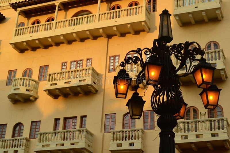 Härlig arkitektur och fyr i Cartagena Colombia royaltyfria bilder
