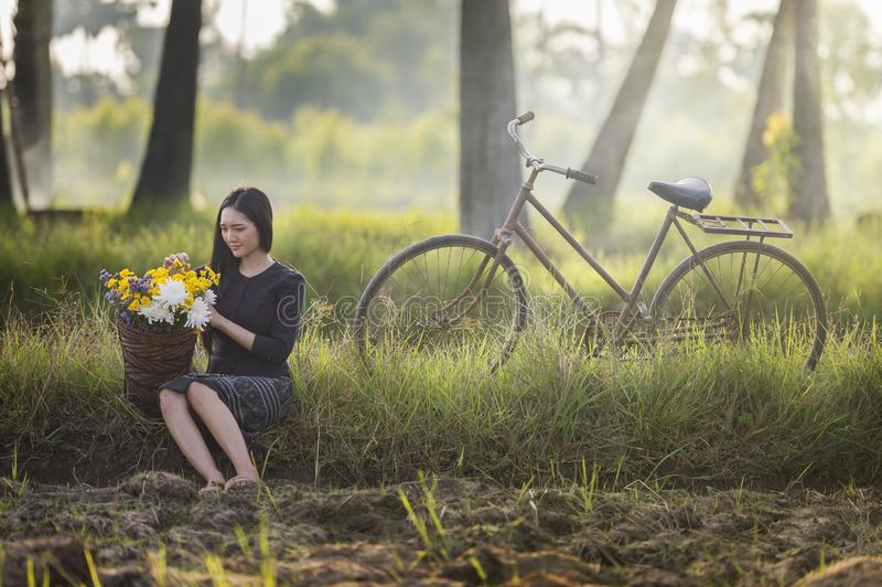 Härlig asiatisk kvinna i lokal traditionell klänning med den gamla cykel- och blommakorgen på det gröna sommarfältet arkivbilder