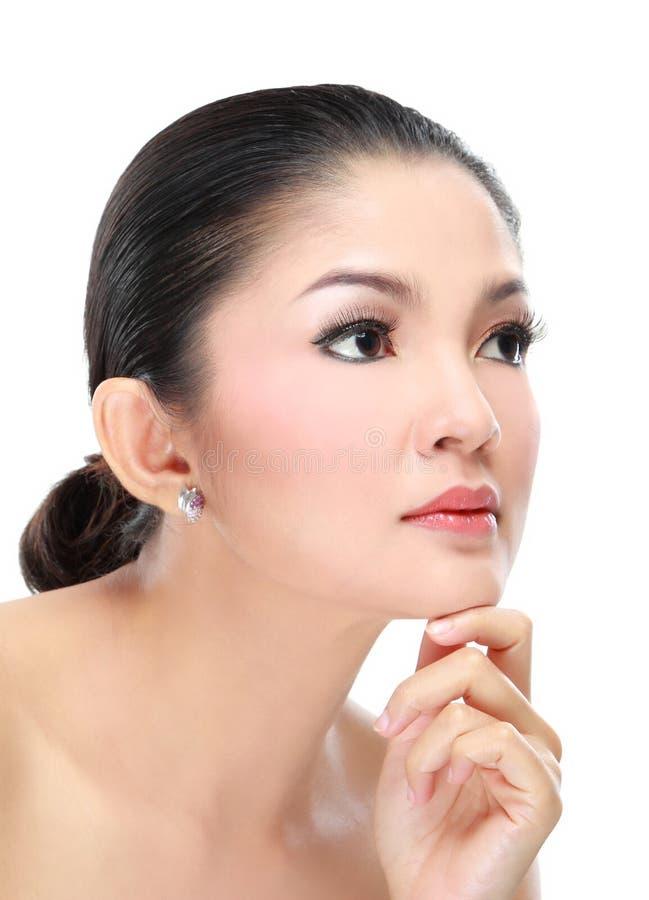 Härlig asiatisk kvinnaframsida fotografering för bildbyråer
