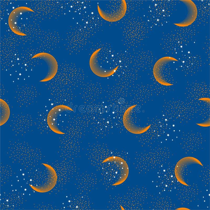Härlig astronomisk sömlös modell för utrymmevektor med vita stjärnor och konstellationer På en design för natthimmel för mode stock illustrationer