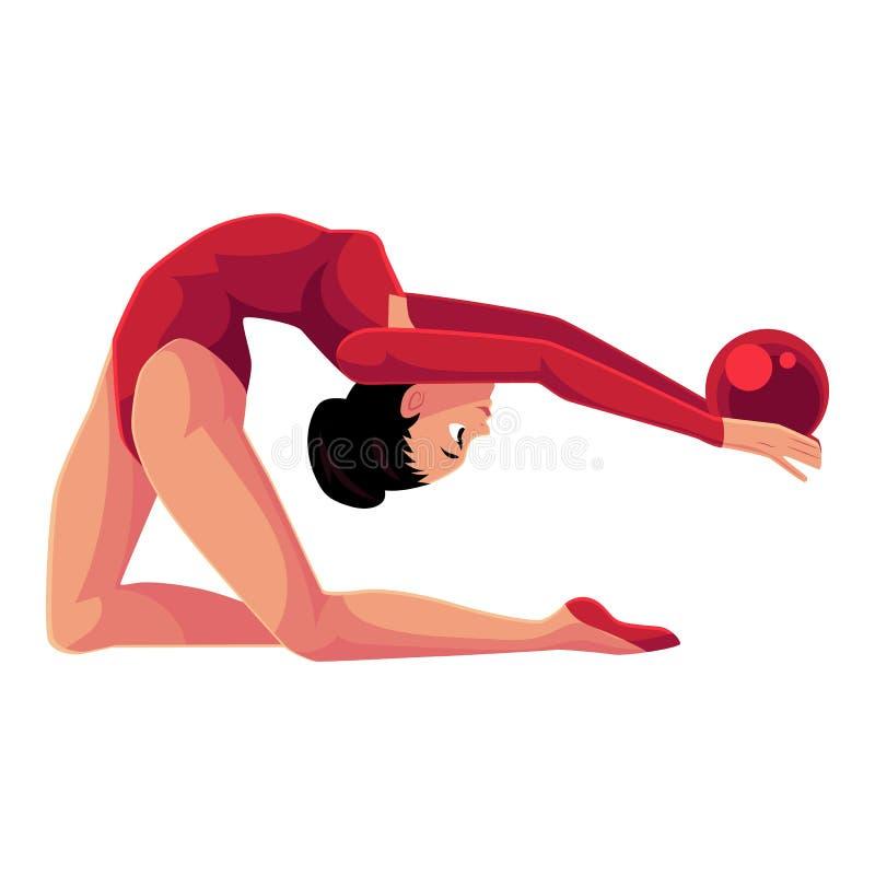 Härlig böjlig flicka i bodyen som gör rytmisk gymnastik med bollen stock illustrationer