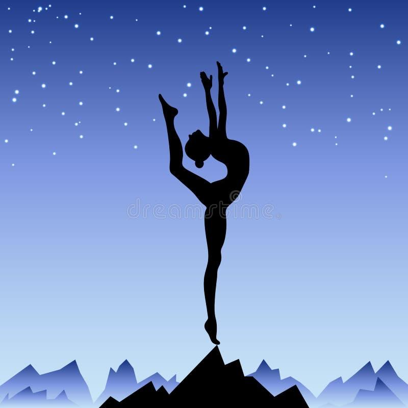 Härlig böjlig flickagymnast som blir på en royaltyfri illustrationer