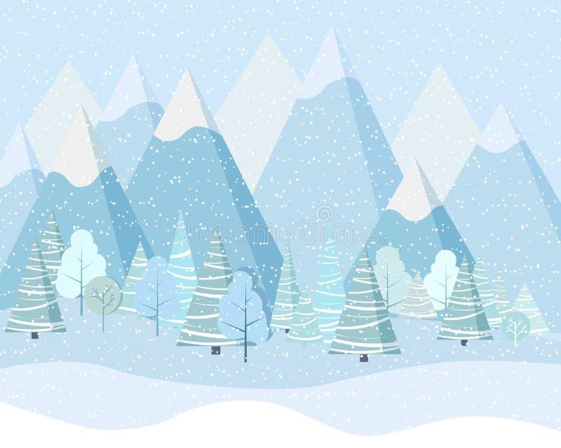 Härlig bakgrund för julvinterlandskap med berg, snö, träd, granar i plan stil för tecknad film royaltyfri illustrationer