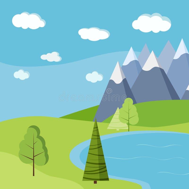 Härlig bakgrund för sommar- eller vårsjölandskap med berg royaltyfri illustrationer