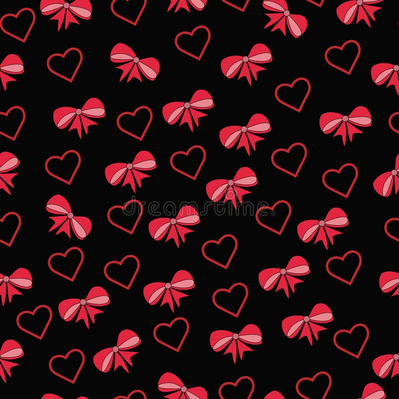 härlig bakgrund med pilbågar och röda band och hjärtor stock illustrationer