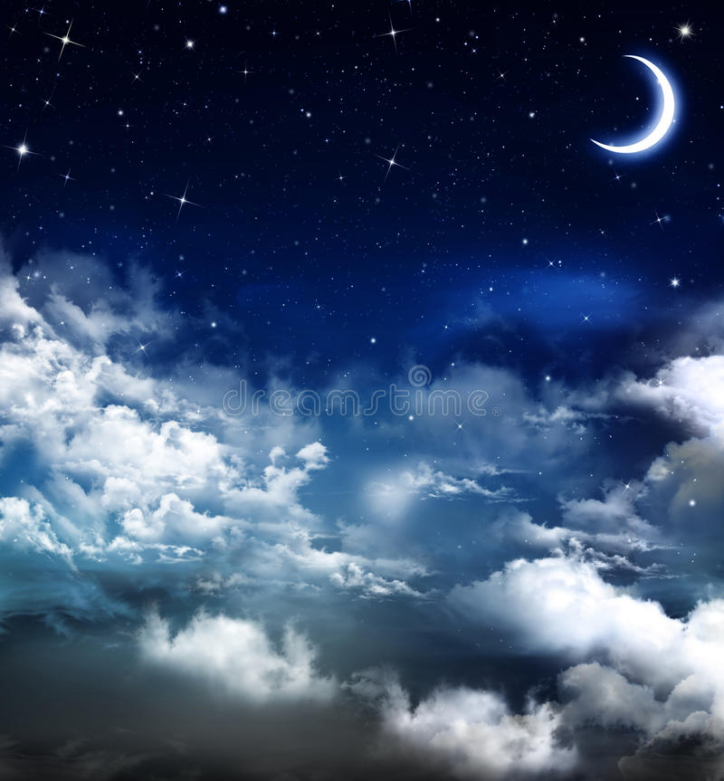 Härlig bakgrund, nightly himmel stock illustrationer